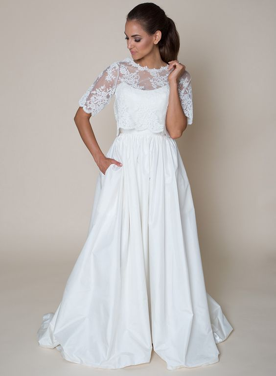 Lala Phillips Box Top Simple And Fresh This A Line Wedding Dress Features Scoop Neckline Natural Waist Gathered Skirt With Pockets
