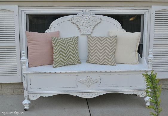 This cute bench started out as a bed. Great repurposed DIY project!