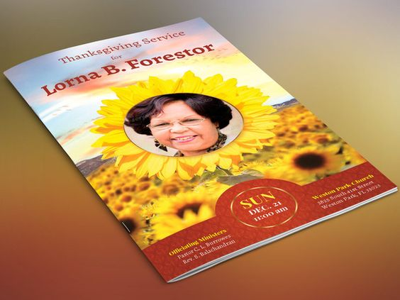 Sunflower Funeral Program-Publisher By Four C Graphic On
