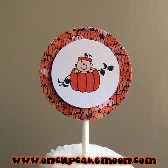 lil pumpkin baby in a pumpkin cupcake or cake toppers, perfect for fall/autumn baby shower or first birthday party. custom personalized - set of 12 handmade by OnCupcakeMoon
