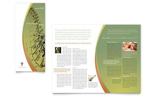 Massage \ Chiropractic Tri Fold Brochure Template Design Layouts - free blank tri fold brochure templates