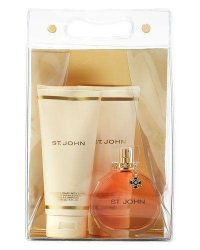 St. John Deluxe Luxury 4 Piece Perfume Set: 3.4 Oz Eau De Parfum Spray + 6 Oz Luminous Pearl Body Lotion + 6 Oz Essential Pearl Bath Shower Gel + Clear Travel Tote with Handle