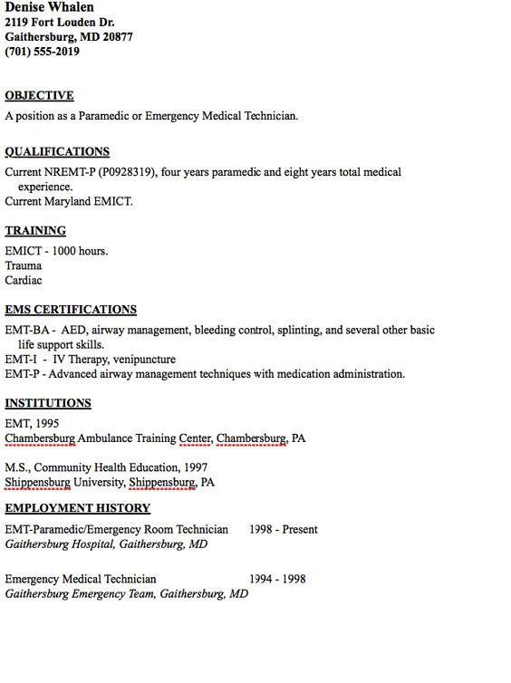 Writing a Cover Letter Writing a Cover Letter Your Name Your - emergency medical technician resume