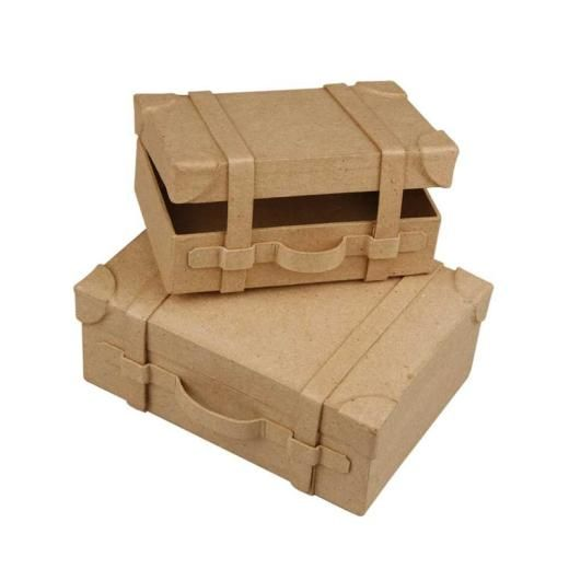 Creativ paper mache suitcases cardboard boxes from craft for Craft paper mache boxes