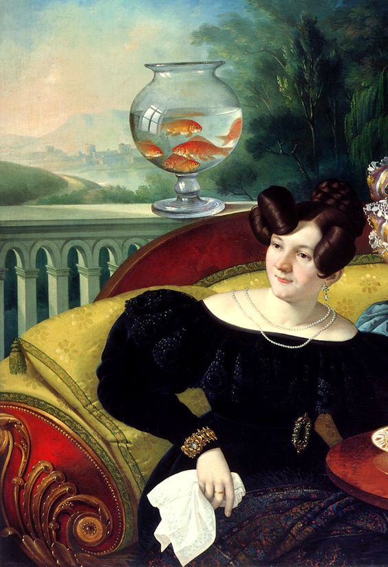 Three Ladies of the Moscon Family by italian artist Giuseppe Tominz, 1829 (detail) #goldfishbowl #art - Carefully selected by Gorgonia - www.gorgonia.it: