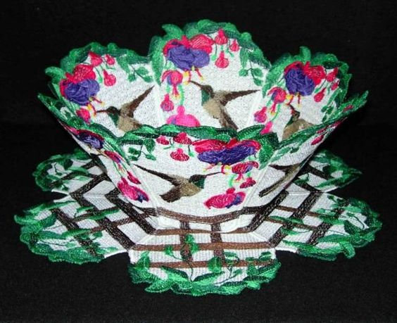 Lace Bowl & Doily  Hummingbird with Fuchsias  My Yahoo group has been busy again suggesting new bowls! It seems so many people love hummingbirds and Fuchsias together! This is a buff-bellied hummingbird from the Southern US. The Fuchsias were taken from a photograph I received from Erica's garden.