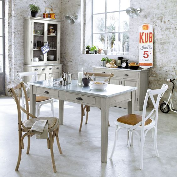 Tables tables de cuisine and cuisines on pinterest for Deco murale zinc