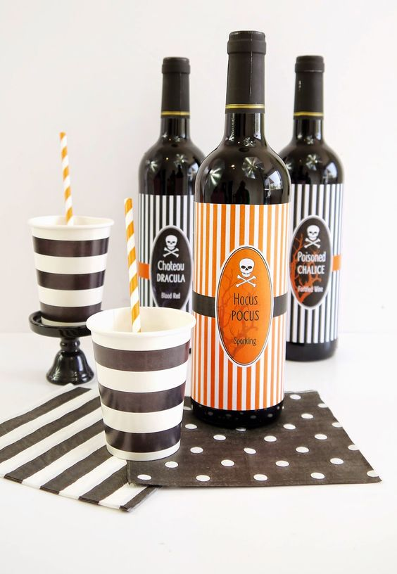 FREE Printable Halloween Decorations, including these cool bottle wrappers! #Halloween