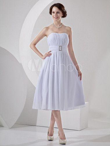 Strapless pregas Chiffon Mini casamento vestido curto para recepção - Milanoo.com