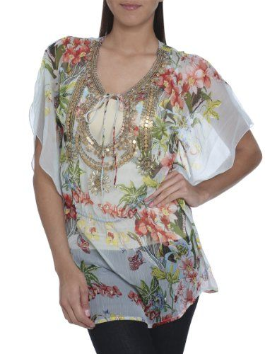 Arden B. Women's Studded Floral Chiffon Tunic S Multi Colored