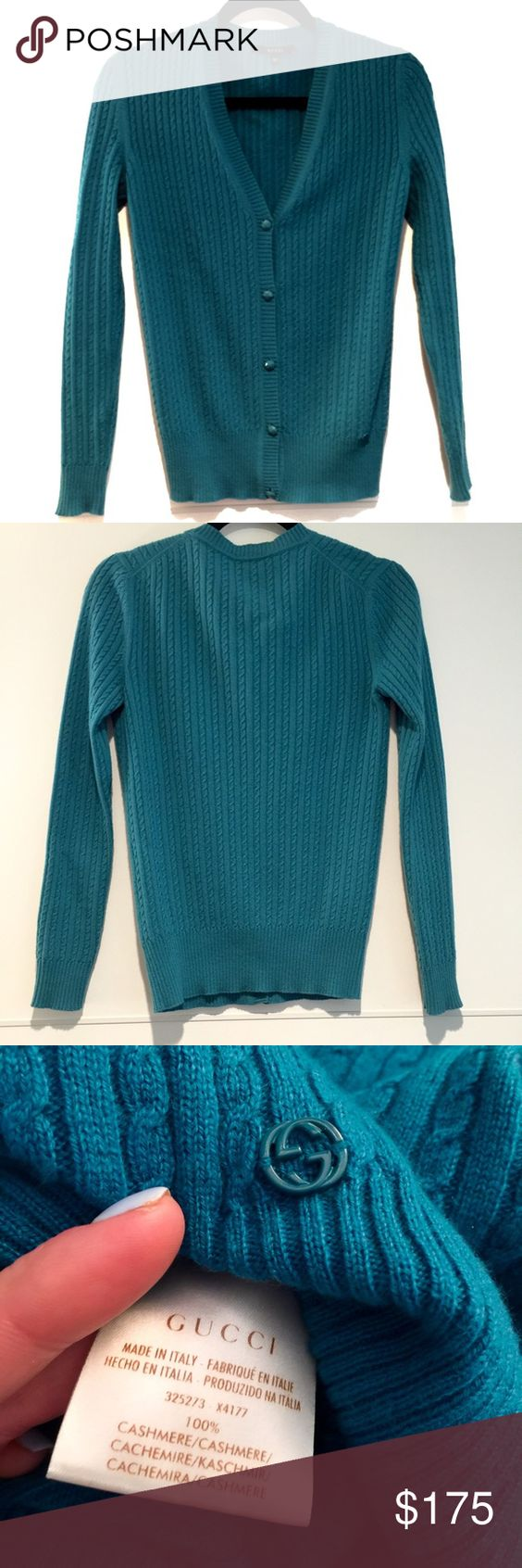 100% Cashmere Teal Gucci Cardigan Button Sweater Perfect condition! Beautiful color and baby cable knit detail. Gucci Sweaters Cardigans