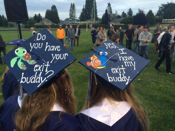 Grad Cap Idea. Best friend Grad Caps. Exit Buddy. Finding Nemo.