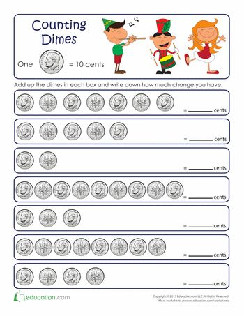 Counting By Tens: Dimes | Count, Apples and Worksheets