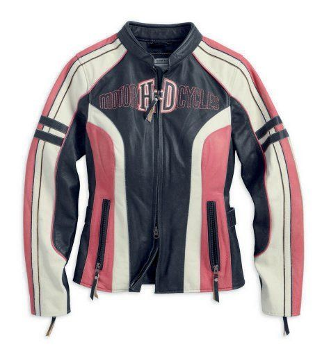 Harley-Davidson Women's Ridgeway Leather Jacket, Black/Pink/White ...