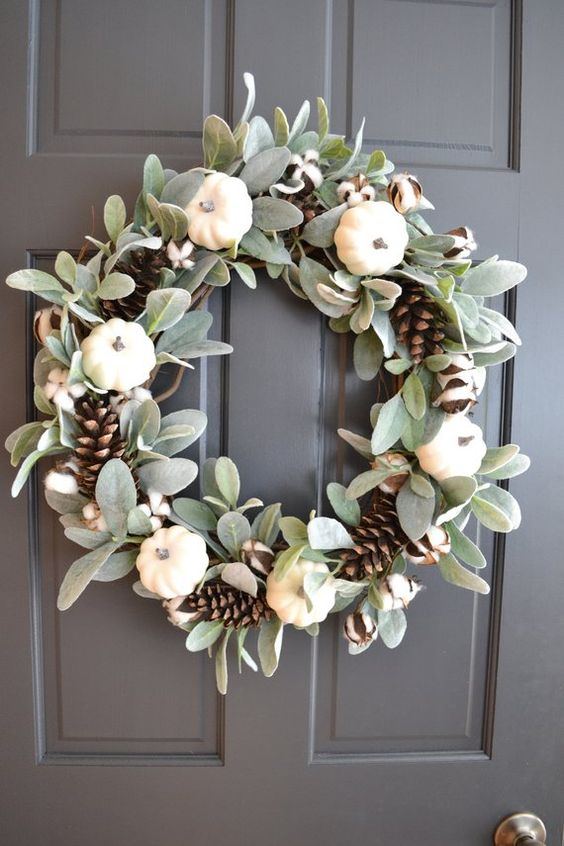 Fall White Pumpkin Wreath Lambs Ear and Cotton Front Door