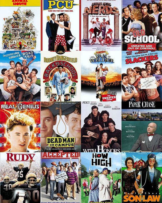 best college themed movies What about once bitten with jim carey or the movie with john cusak where he is in college and gets a ride with this chick who was all up tight and by the end of the movie she was flashing.