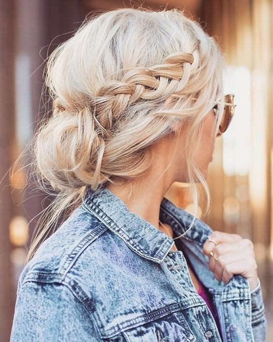 Braided buns make such cute medium length hairstyles!