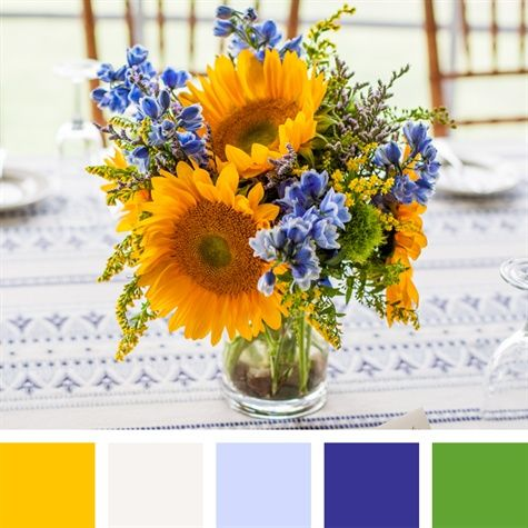 yellow, green, and blue wedding colors | Yellow, White, Light Blue, Royal Blue, Green Color Palette