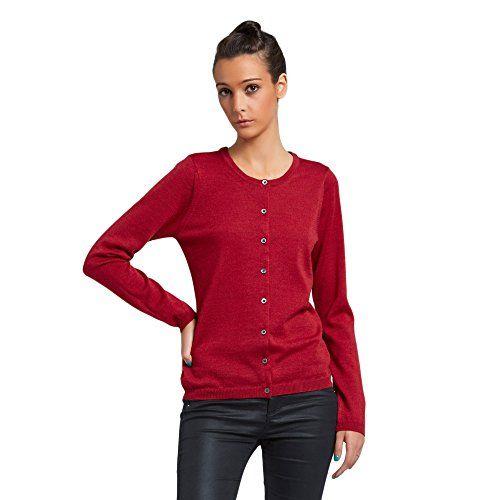 Brunella Gori Cardigan con Bottoni Girocollo Donna con Dettaglio Finta Interna Gross Grain 100/% Extrafine Merino Color Rosso
