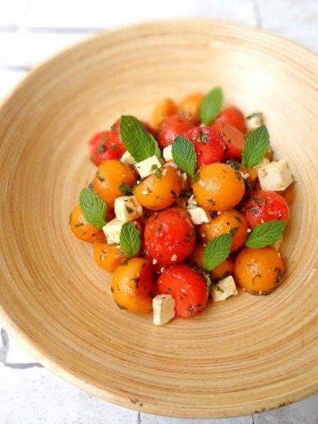 Salade melon pastèque feta