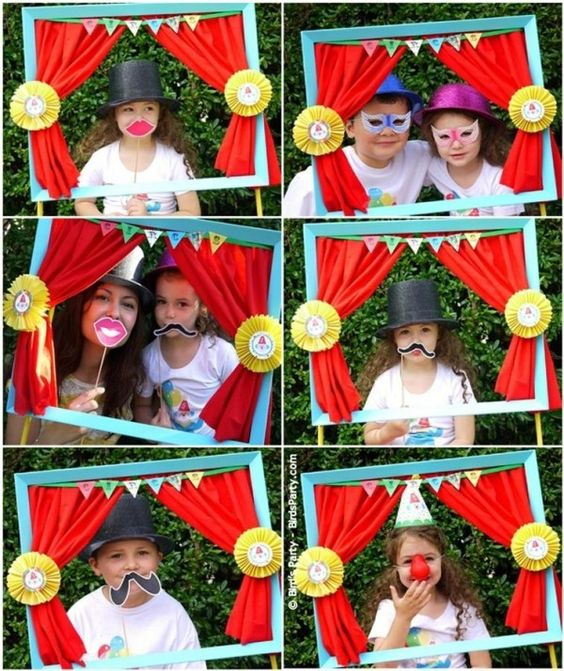 diy photo booth, frame with curtains on stand; circus theme ...