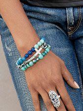 Aqua Silver Cross Bracelet Set, genuine crystal, set of 3, $34.