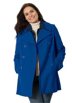 Plus Size Wool double-breasted peacoat