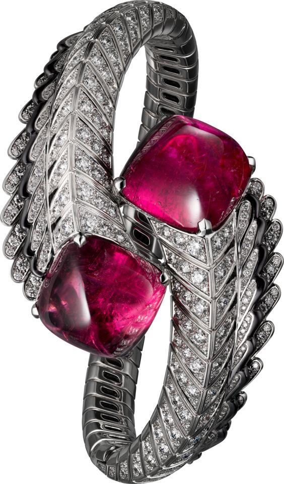 High Jewellery bracelet White gold, rubellites, black lacquer, diamonds