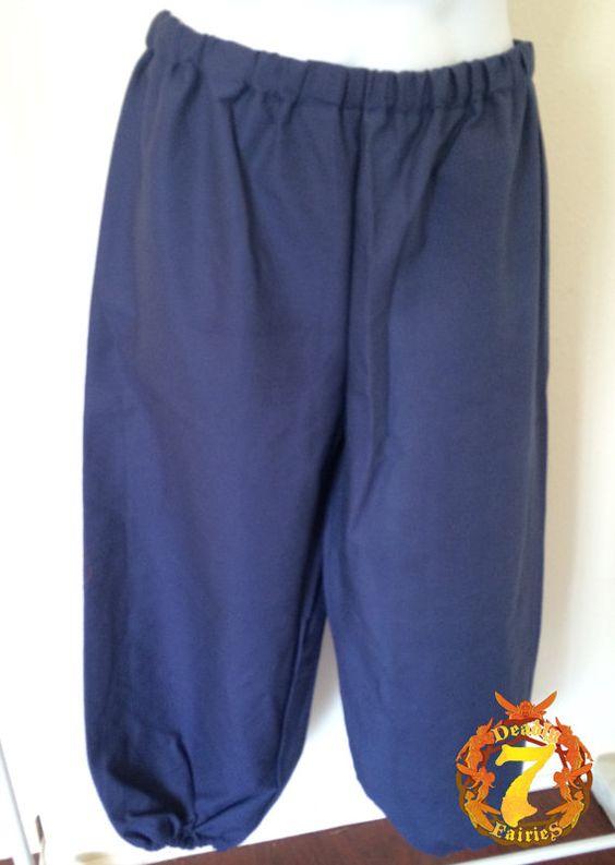 Linen Peasant Pants -  Navy Blue