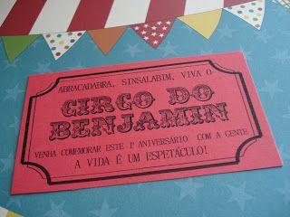 a casca da cigarra: Aniversário de 1 ano - Festa do circo: os convites