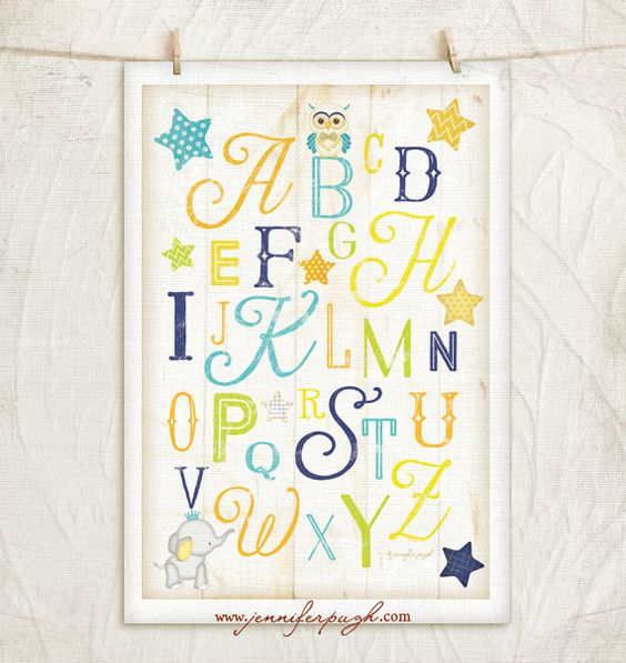 ABC Nursery Art- 12x18 Giclee Art Print by Jennifer Pugh. Enjoy this adorable ABC Nursery Art print with its beautiful fonts and and bright