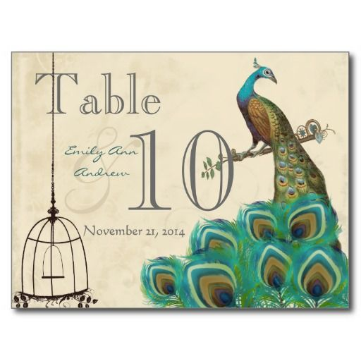 Peacock Wedding Table Number Postcard
