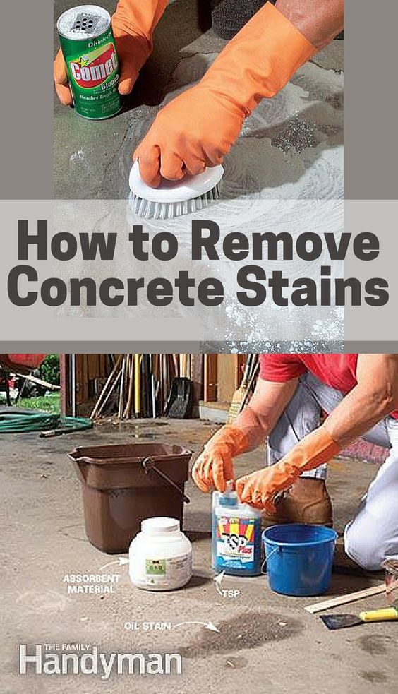 Stains how to get out and grease stains on pinterest for Clean oil from concrete garage floor