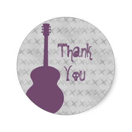 Purple Guitar Grunge Thank You Stickers