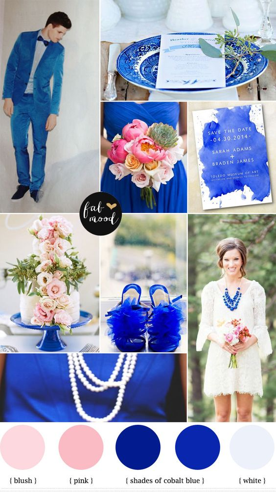 Fab Mood : Cobalt blue and pink wedding inspiration -Summer wedding colors ideas