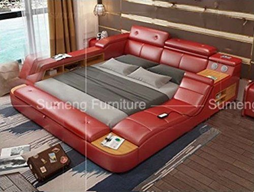 All In One Leather Double Bed Frame With Speakers And Storage Safe