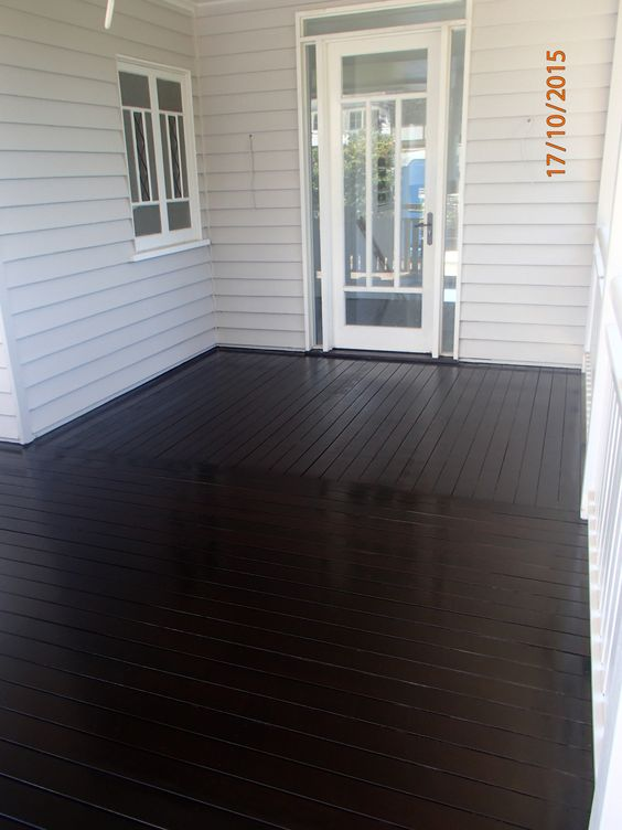 Stained decks black deck and wow factor on pinterest for Garden decking varnish