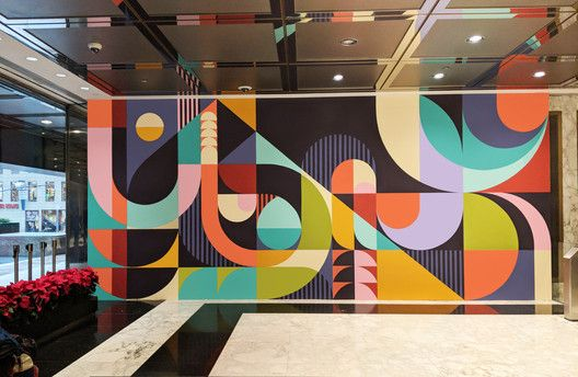 Gallery Of A Pop Of Color On Public Spaces 4 Mural Design Mural Wall Art Office Mural
