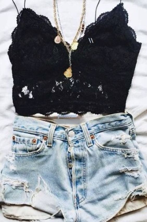 Black lace bralette   ripped high waisted shorts   summer outfit