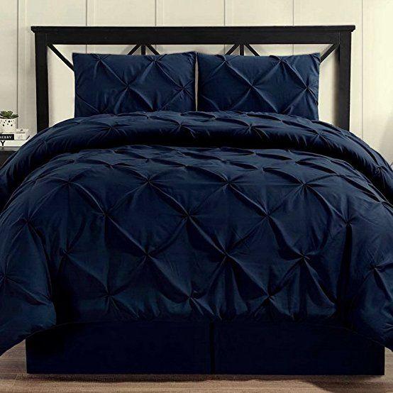 Comforter Set 4 Piece Pinch Pleat Pintuck Durable Stitching Luxury Modern Hypoallergenic All Season Soft Be Black Comforter Black Comforter Sets Comforter Sets