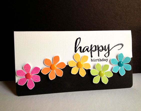 handmade card ... Happy Flowers, Happy Birthday! ... short and wide format (#10) ...