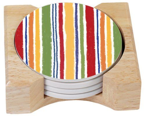 CounterArt Santa Fe Fiesta Design Absorbent Coasters in Wooden Holder, Set of 4 by Counter Art. $17.64. Beautiful, colorful design meets high functionality with this coaster gift set. Coasters are natural stoneware with decorative transfer print. Set of 4 absorbent coasters in wooden display holder. Holder is made of durable rubberwood with a clear varnish finish. To remove coaster stains, soak coaster in 1 part household bleach and 3 parts water until stain lifts, then rinse...