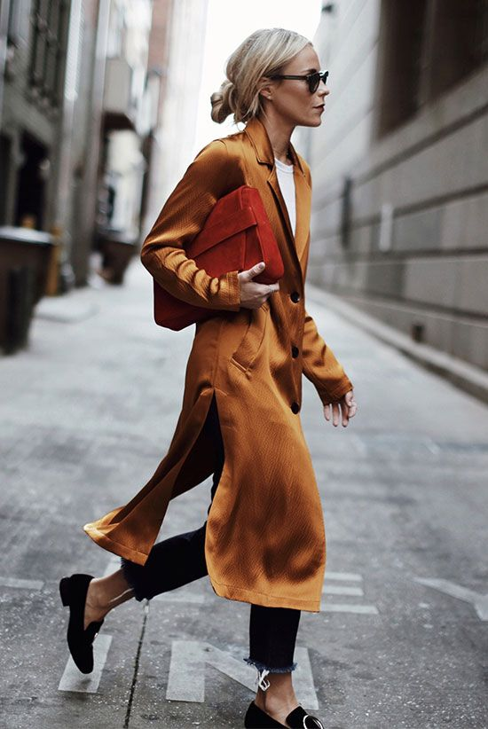 @sommerswim fall outfit, spring outfit, casual outfit, work outfit, street style, street chic style, comfy outfit, travel outfit, tomboy outfit - yellow silk coat, white t-shirt, dark wash raw hem crop jeans, black suede loafers, black mirror sunglasses, red clutch: