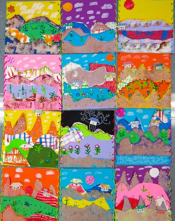 Hey, guys! I'm excited to share with y'all the finished product of many an art class: Second Grade's Landscape Collages! Here's some things we learned along the way (with more detail in a hot minute):