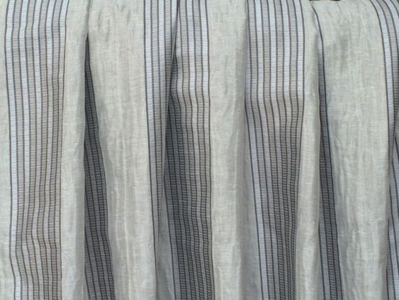 Grey Silver Stripes Curtain Drapes Curtain Panels by FabricMart