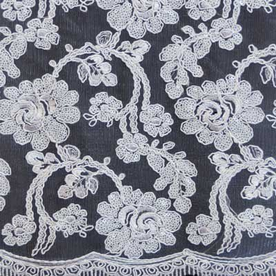 White Renee Flower Lace Fabric