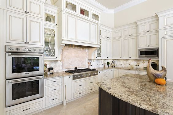 Shiloh Cabinetry  Hood Option  Soft White with Cafe Highlight Glaze