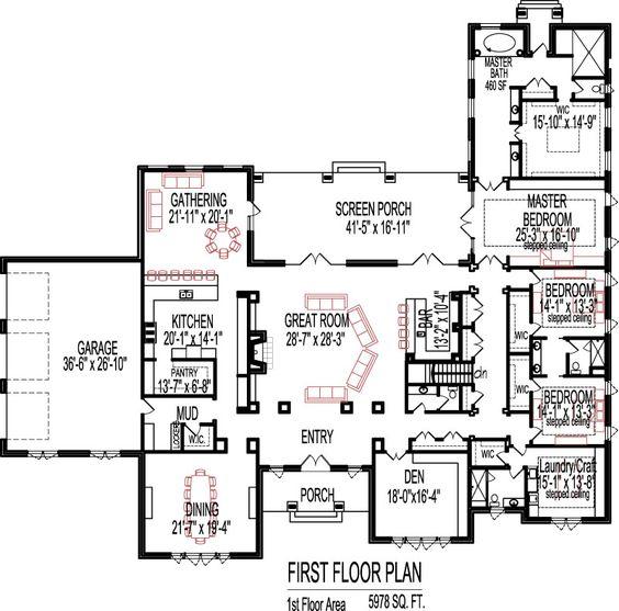 5 Bedroom House Plans Open Floor Plan Designs 6000 Sq Ft