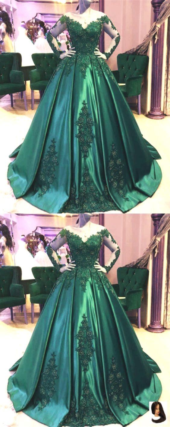 Charmante dunkelgrüne Langarm formale Quinceanera Kleid