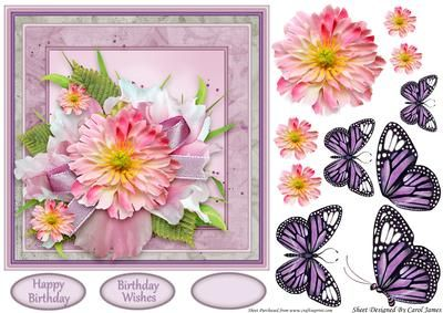 Simplicity 6 on Craftsuprint designed by Carol James - A beautifully simple floral 7 x 7 topper with decoupage pieces and 2 sentiment tags (plus a blank tag)Sentiments include:Birthday WishesHappy Birthday - Now available for download!